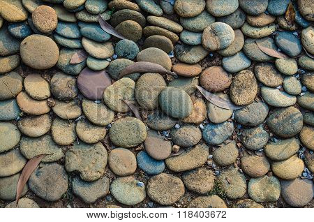 Abstract background with decorative floor pattern of gravel stones Gravel texture
