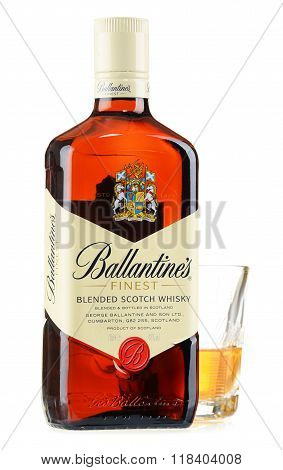 Bottle Of Ballantine's Scotch Whisky Isolated On White