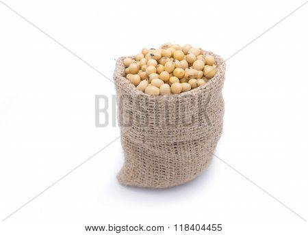 Soy Beans In Gunny Bag Isolated On White Background