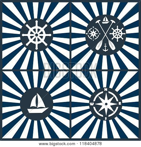 Nautical Icon Set. Anchor, Lifebuoy, Ship Steering Wheel