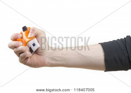 Male hand holding a stress ball house