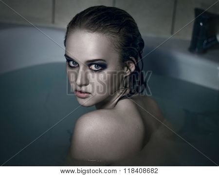 Sexual Violence And Rape, Suicide Topic: Sad Girl Sitting In A Water Bath