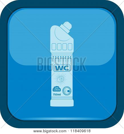 Plastic bottle of cleaning product icon on a blue button vector illustration
