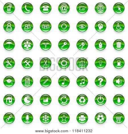 green cicrle glossy web icons set