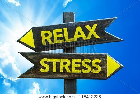 Relax - Stress signpost with sky background