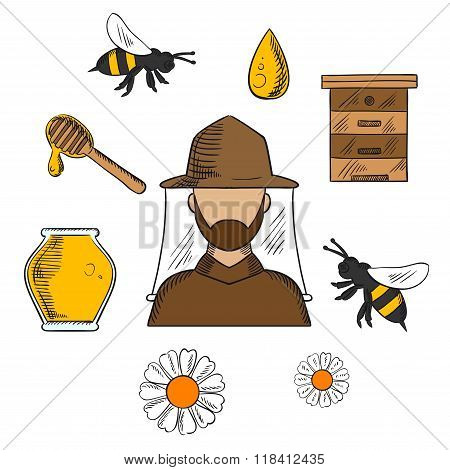 Beekeeping and apiculture symbols set