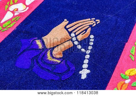Hands With Rosary Beads On Holy Week Carpet, Antigua, Guatemala
