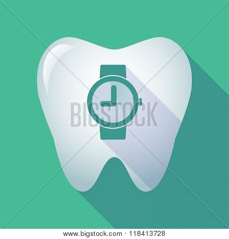Long Shadow Tooth Icon With A Wrist Watch