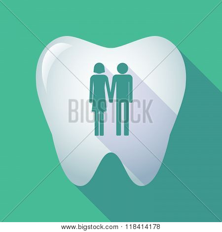 Long Shadow Tooth Icon With A Heterosexual Couple Pictogram