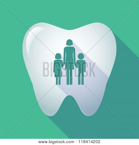 Long Shadow Tooth Icon With A Female Single Parent Family Pictogram