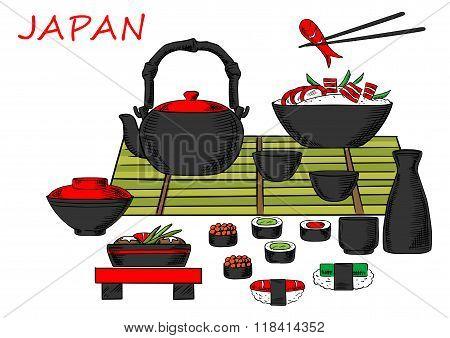 Japanese seafood and drinks set