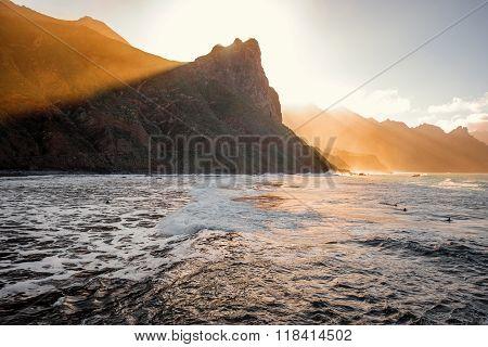 Rock near Taganana village on the sunset