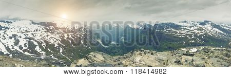 Panoramic View On Norway Mountain Landscape, Dalsnibba - Nibbevegen, Norway, Norway
