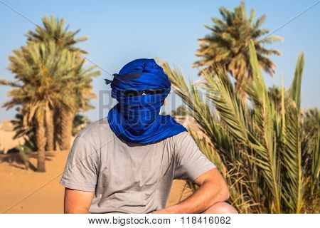 A Desert Explorar Covered With Turban