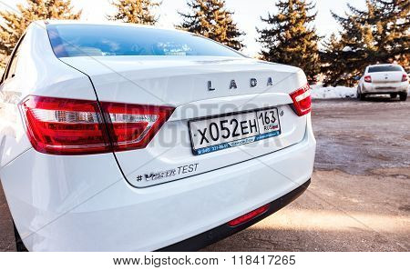 Back Part Of The New Russian Car Lada Vesta With License Plate. Lada Is A Russian Automobile Manufac