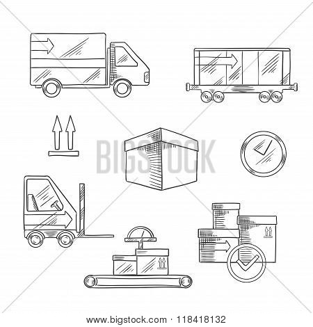 Delivery, shipping and logistics icons
