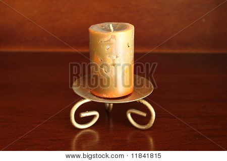 Artistic candle on a candleholder