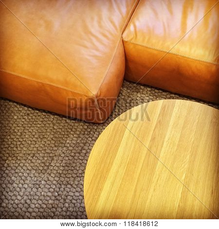 Detail Of Leather Sofa And Coffee Table