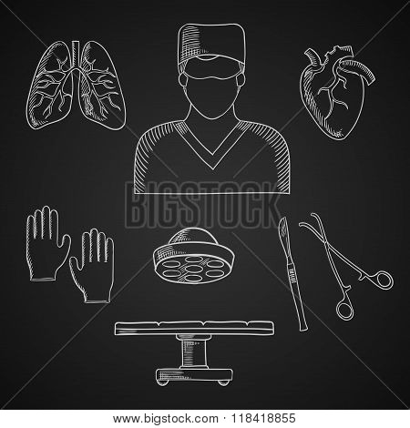 Surgeon profession, toos and human organs