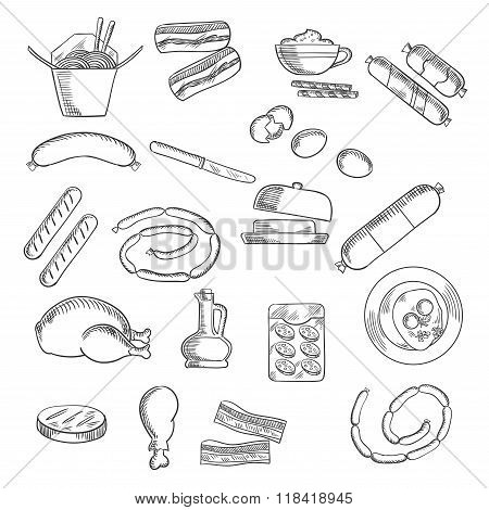 Fast food, snacks and meat sketched icons