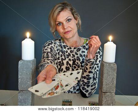 Cute Blond Girl Shot In Studio Candles
