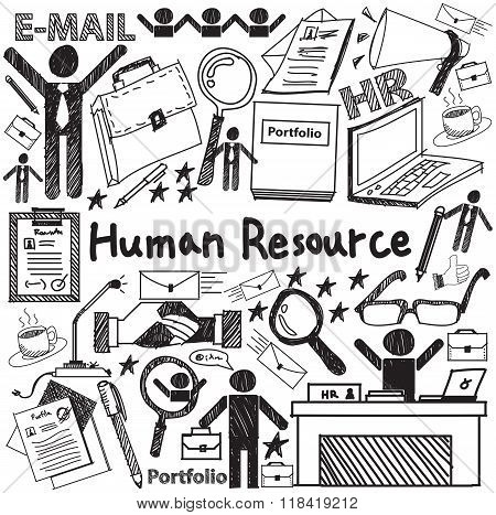 Human Resource Management In Organization Handwriting Doodle Icon Sketch Sign And Symbol In White Is