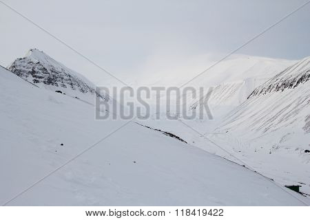 The Mountains Around The City Of Longyearbyen, Spitsbergen (svalbard).