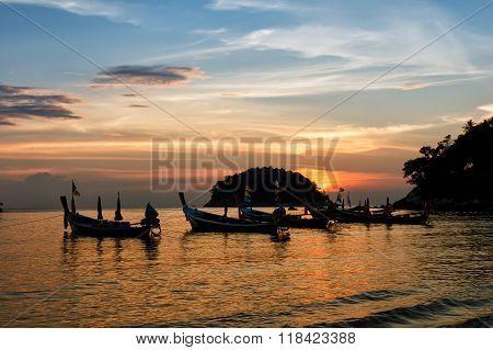 Beautiful sunset on Kata Beach Phuket Thailand