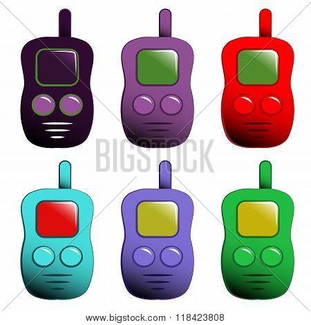 Vector Cartoon Set Of Mobile Phones