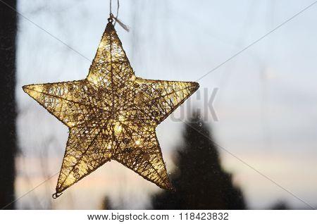 Christmas Star On A Window