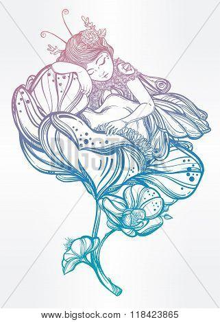 Little sleeping winged fairy. Vector illustration.