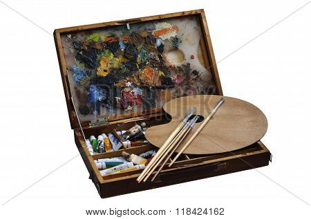 Box With Paints, Brushes And Palette
