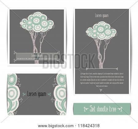Set of spring doodle tree on grey background.
