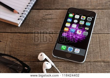 Bangkok, Thailand - Feb 15, 2016 : Iphone 6 And Ios Application On Wood Desk, Iphone 6 Developed By