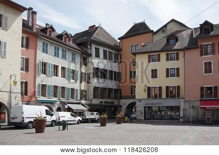 View Of The Square In City Centre Of Annecy