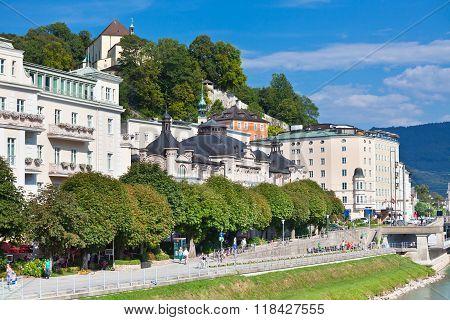 River Salzach Embankment In Salzburg, Austria