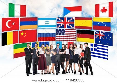 Group of business people and countries flags