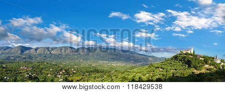 Panorama Of Green Inland Of Zakynthos Island With Village In Greece