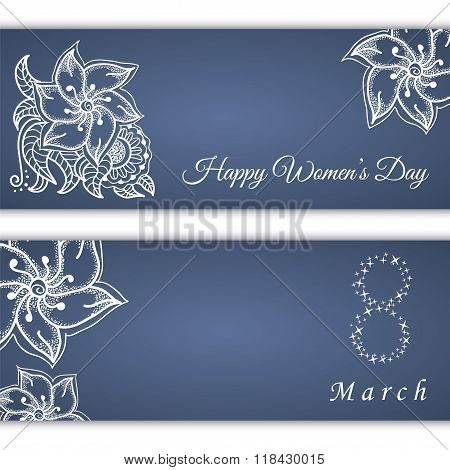 Set Of Vector Greeting Cards Or Banners For 8 March With Place For Text. Happy Women's Day