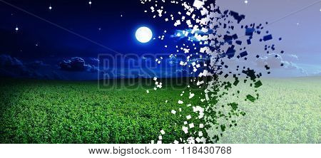 disintegrate green night field. star sky