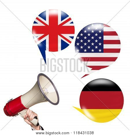 Megaphone speak foreign languages
