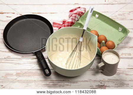 Preparing batter for pancakes