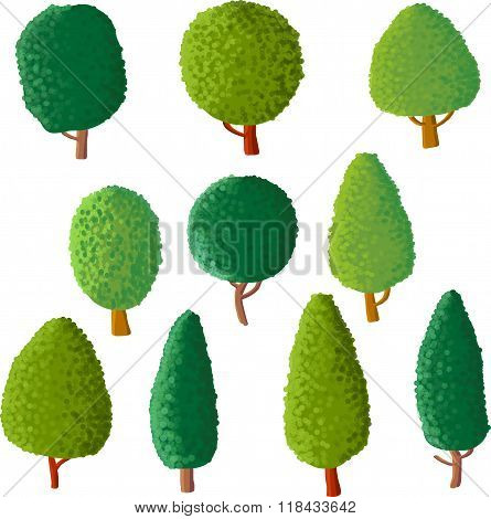 vector set of cartoon trees