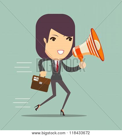 business woman talking into a megaphone