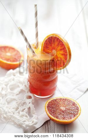Fresh juice with carrot, blood orange and ginger