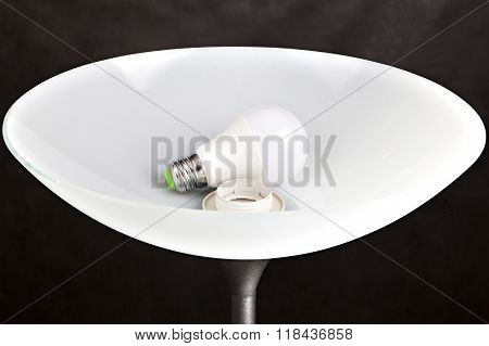 Energy-saving Led Light Bulb Is In The Lampshade Floor Lamp.
