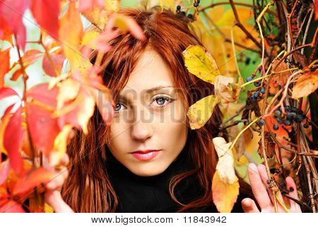 Beautiful Woman And Autumn Leaf