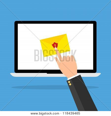 Computer Laptop With Red Shield Email And Keyhole With Human Hands Press For Unlock The Protection O