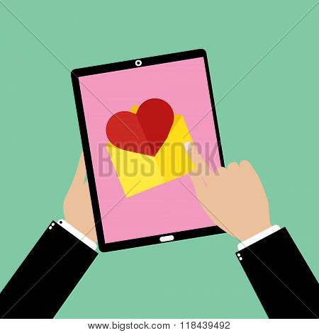 Business Man Hand Holding A Tablet Smartphone With Point And Touching An Love Email. Vector Illustra