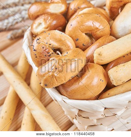 Traditional Bagels In a Basket
